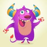 Sourire à cornes de bande dessinée mignonne et pelucheux violet de monstre Illustration de vecteur de Veille de la toussaint illustration stock