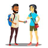 Sourire étudiant musulman et asiatique With Backpack Vector Illustration d'isolement illustration libre de droits