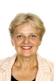 Sourire aîné satisfaisant de femme Image libre de droits