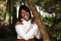 Sourire afro-américain de femme Images libres de droits