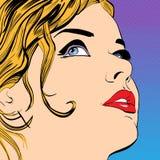 Sourire assez blond de femmes Une jeune femme Femme mignonne pensant à quelque chose illustration stock