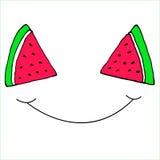 Sourire découpé en tranches drôle de pastèque de tranches, Illustration Stock