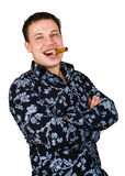 sourire d'homme de cigare Image stock