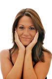 sourire d'isolement par fille de brunette Photo stock