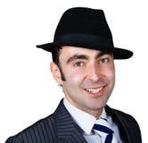 sourire de chapeau d'homme d'affaires rétro Image libre de droits