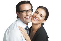 Sourire de couples d'affaires Photos stock