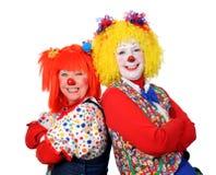 Sourire de deux clowns Photos stock