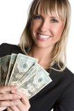 Sourire de femme d'argent photo stock