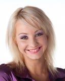 Sourire de femmes au-dessus de blanc Image stock