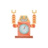sourire de fusée de laungh d'horloge de robot de dessin Photos stock
