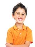 Sourire de garçon d'isolement au-dessus d'un blanc Photo libre de droits