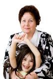 sourire de grand-maman d'enfant Images stock