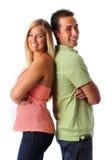 Sourire de jeune femme et d'homme Photo stock