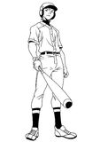 Sourire de joueur de baseball Photos stock