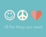 Sourire, paix, amour - toutes les choses que vous avez besoin ! Photographie stock libre de droits