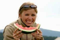 Sourire de pastèque Photographie stock libre de droits