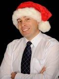 sourire de Santa d'homme de chapeau photo libre de droits