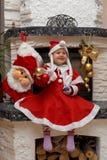 sourire de Santa de Noël d'enfant Photographie stock libre de droits