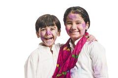 Sourire de soeur et de frère Photographie stock libre de droits