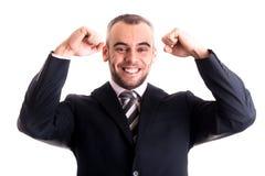 Sourire de succesfull d'homme d'affaires avec des mains vers le haut Images libres de droits