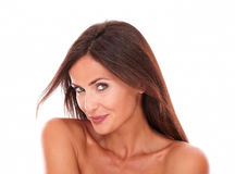 Sourire femelle hispanique sexy à l'appareil-photo Photo stock