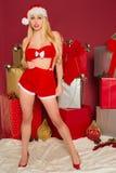 Sourire femelle sexy de Santa Photo stock