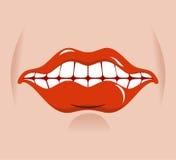 Sourire gai Lèvres rouges et dents blanches Images stock