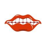 Sourire gai Lèvres rouges et dents blanches Ouvrez la bouche Photographie stock