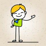 Sourire heureux d'homme d'affaires de bande dessinée de dessin de main avec l'escroquerie de bonheur Photo stock