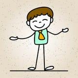 Sourire heureux d'homme d'affaires de bande dessinée de dessin de main avec l'escroquerie de bonheur Image libre de droits