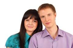Sourire heureux d'homme et de femme d'isolement Image stock