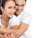 Sourire heureux de couples Photographie stock libre de droits