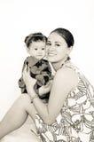 Sourire heureux de famille, de mère et de bébé image stock