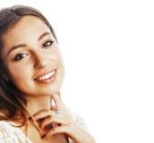 Sourire heureux de femme de cheveux assez blonds de jeunes d'isolement sur b blanc Images libres de droits