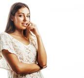 Sourire heureux de femme de cheveux assez blonds de jeunes d'isolement sur b blanc Images stock
