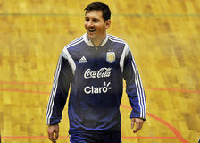 Sourire heureux de Lionel Messi Photo stock