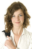 sourire heureux par femme d'affaires Photo stock