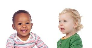 Sourire mignon de bébé d'isolement Images libres de droits