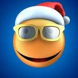 sourire orange de l'émoticône 3d avec le chapeau de Noël illustration libre de droits