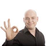 Sourire parfait de signe chauve d'homme Photos libres de droits