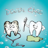 Sourire sain de dent Dent malade Photos stock