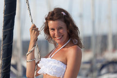 Sourire sur un yacht Photo stock