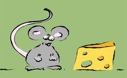 Souris avec du fromage Photographie stock libre de droits
