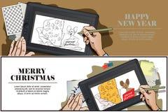 Souris avec un morceau énorme de fromage pour Noël La main peint la PIC illustration libre de droits