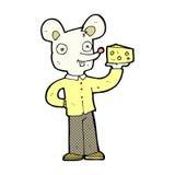 souris comique de bande dessinée tenant le fromage Photo stock