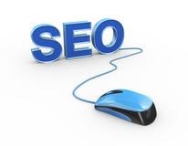 souris 3d attachée à l'optimisation de moteur de recherche de seo de mot Images libres de droits