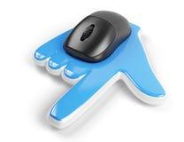 Souris d'ordinateur avec le curseur de main Image libre de droits