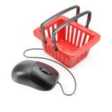 Souris d'ordinateur avec le panier à provisions Images libres de droits