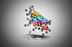 Souris d'ordinateur de pixel de couleur de curseur d'émiettage Photo stock
