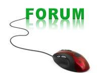 Souris d'ordinateur et forum de mot Image stock